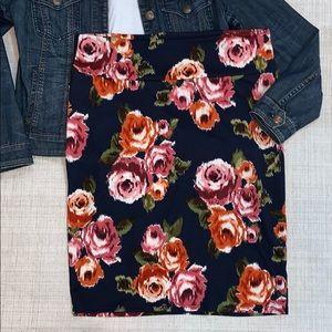 LuLaRoe Cassie Navy & Floral Skirt